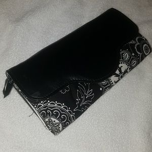 Black and White flower wallet